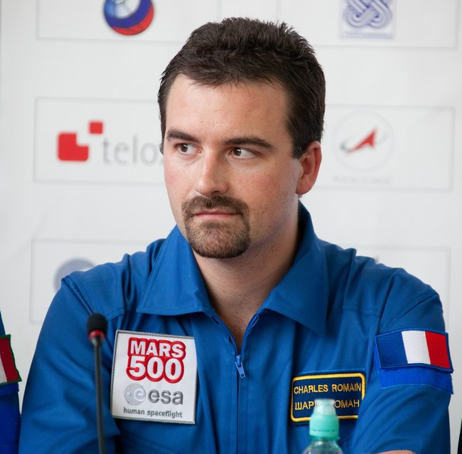 Romain Charles. Press conference on the announcement of the crew of 520-day isolation photo: IBMP/Oleg Voloshin - 0013